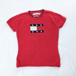 VTG Tommy Hilfiger Logo Flag Knit Raw Hem Crop Top